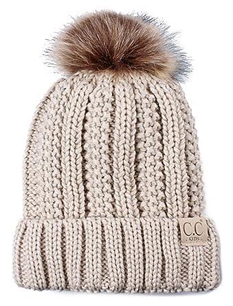 22df7fa0761 Amazon.com  H-1820kids-60 Fuzzy Lined Pom Hat - Beige  Clothing