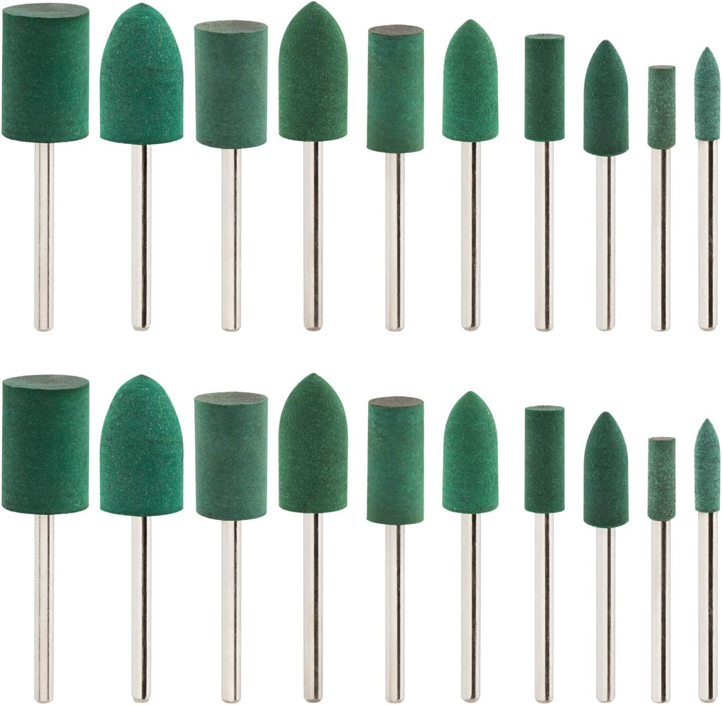 PAGOW 20 pcs Rubber Polishing Bits, 3 mm (1/8 Inch) Shank Cylinder and Bullet Polishing Mounted Points For Dremel Derusting Grinding Buffing Rotary Drills Tools(Green)