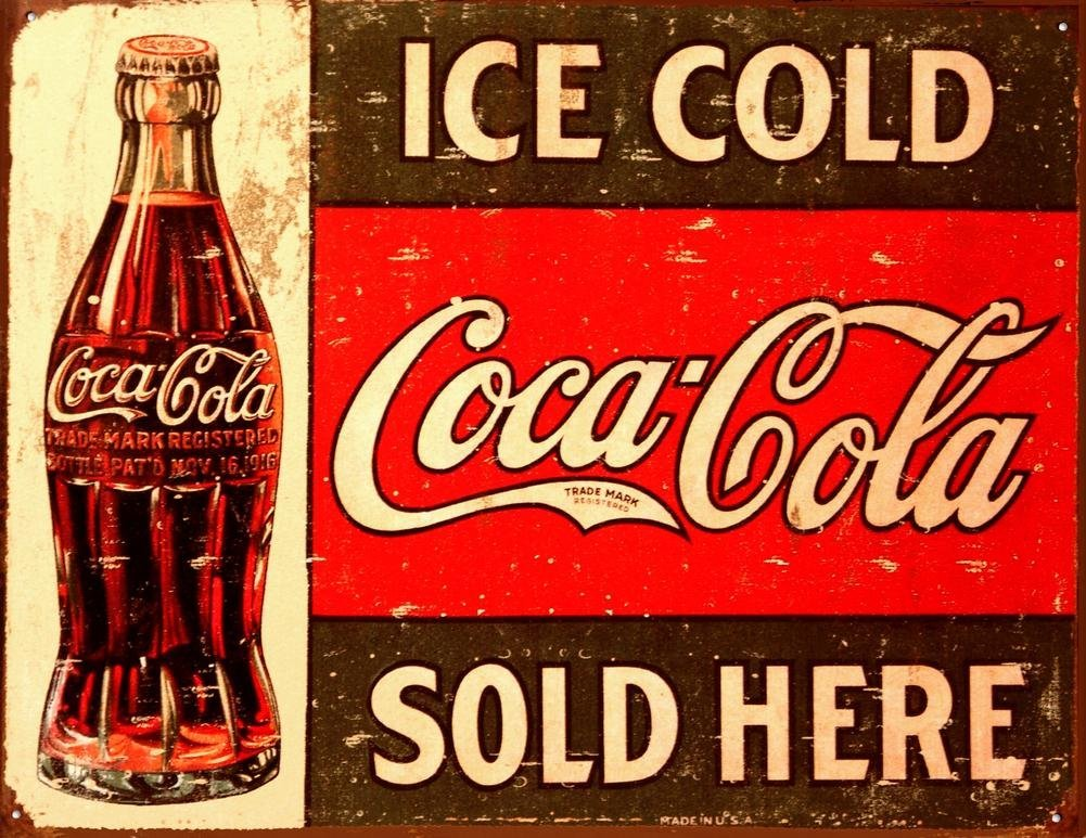 Tin Sign - Coke - C. 1916 Ice Cold, 16x13