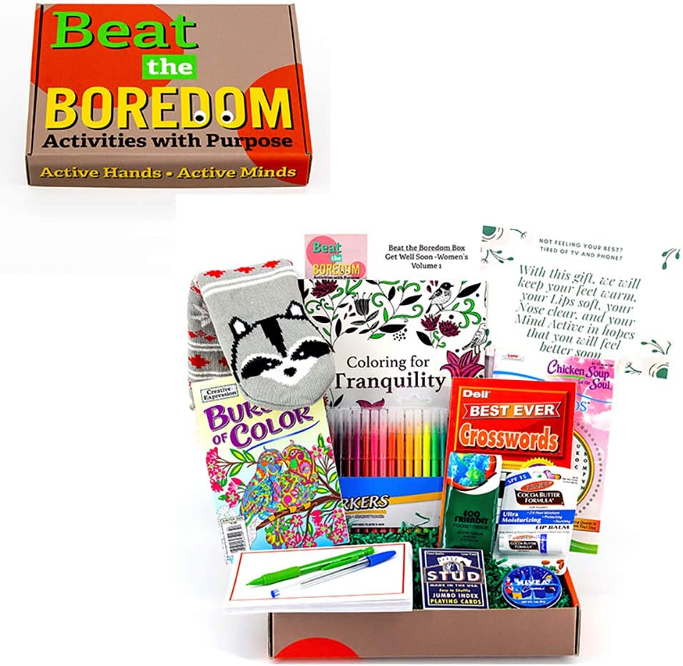 Get Well Gifts for Women Beat the Boredom Box Non Food Gift Basket Get Well Message Plush Non-Slip Socks Lip Balm Travel Tissue Cream Crossword Book Word Search Book Adult Coloring Books Cards Markers