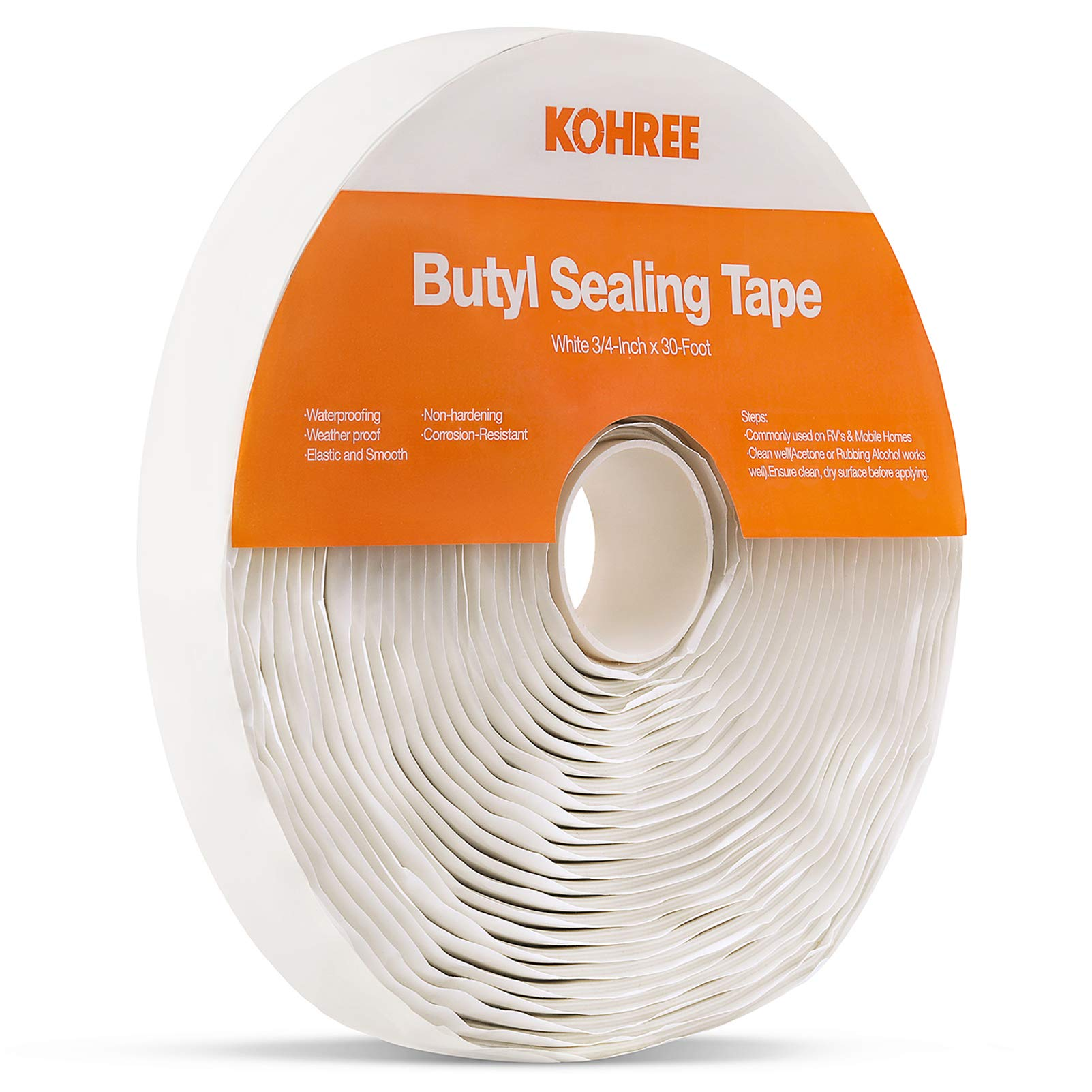 Kohree Butyl Seal Tape RV Putty Rubber Sealant Tape White, 1/8-Inch x 3/4-Inch x 30-Foot, Leak Proof Butal Tape for RV Repair, Window, Boat Sealing, Glass and EDPM Rubber Roof Patching