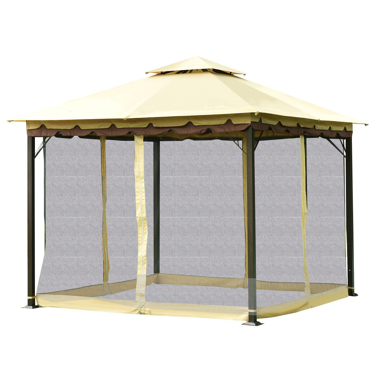 oldzon 2-Tier 10'x10′ Gazebo Canopy Tent Shelter Awning Steel Patio Garden Outdoor with Ebook