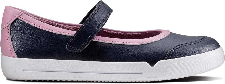 Clarks 453956F Emery Halo K Navy Leather Kids School Shoes