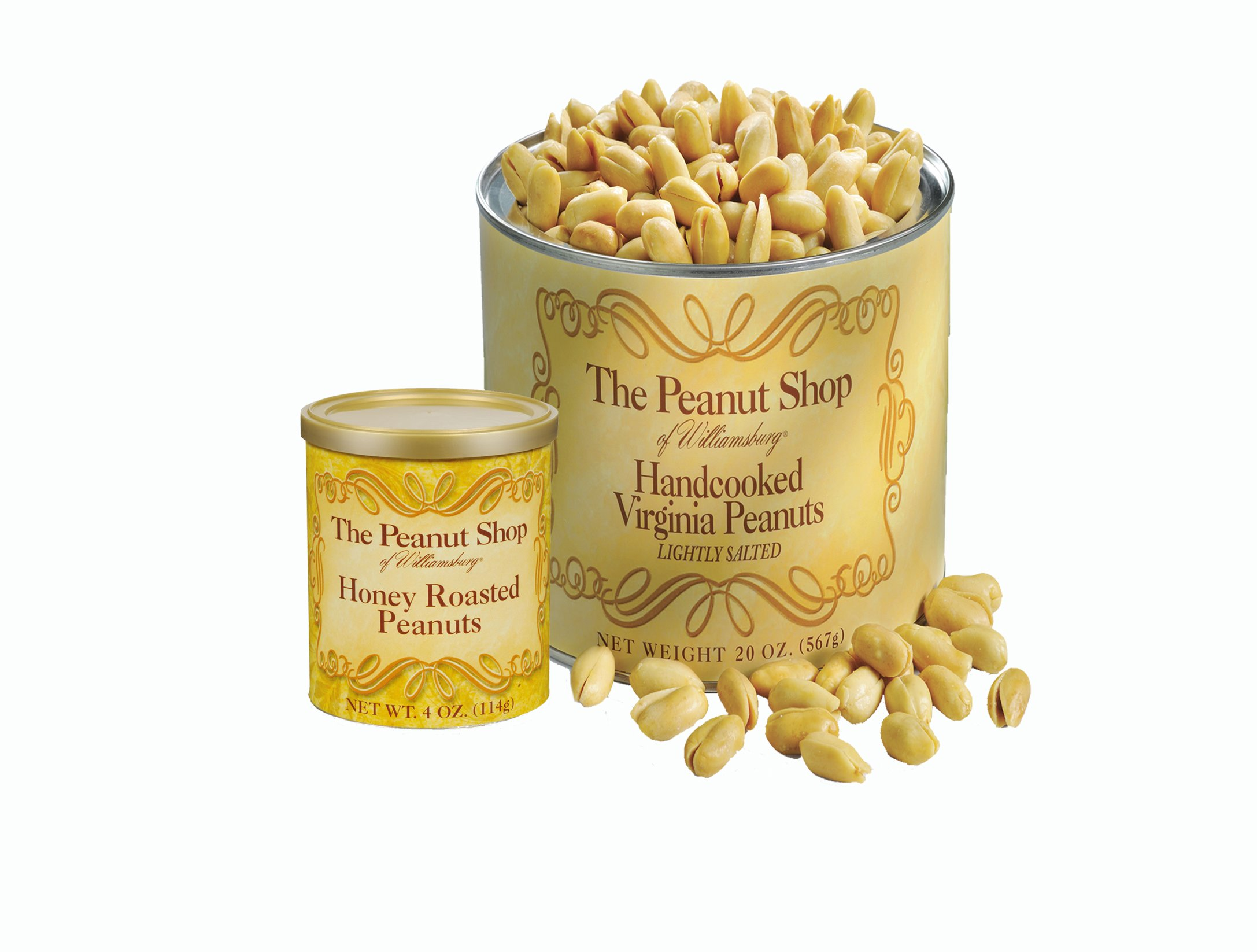 The Peanut Shop of Williamsburg Handcooked Virginia Peanuts, Lightly Salted, 20 Ounce & Honey Roasted, 4 Ounce