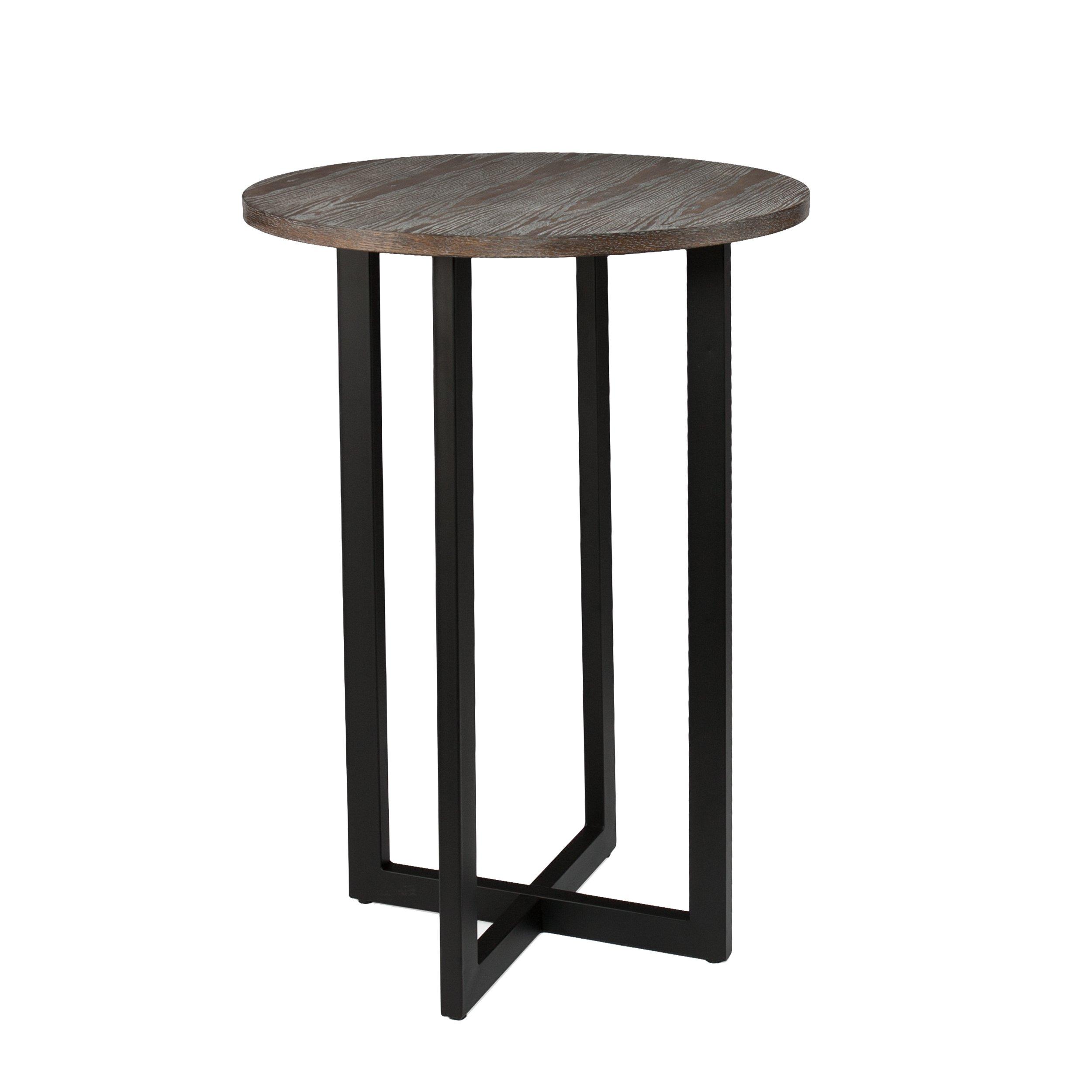 Danby Bistro 42'' Bar Table - Burnt Oak Finish w/ Black Metal Base - Seats 2 to 4 People by Southern Enterprises
