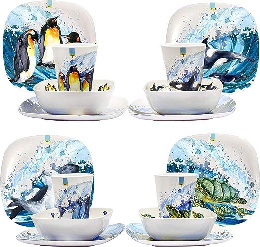 EDGO 16 Piece Melamine Dinner Set in Assorted Themes /& Contemporary Design Shatter-Proof /& Dishwasher Safe Ocean