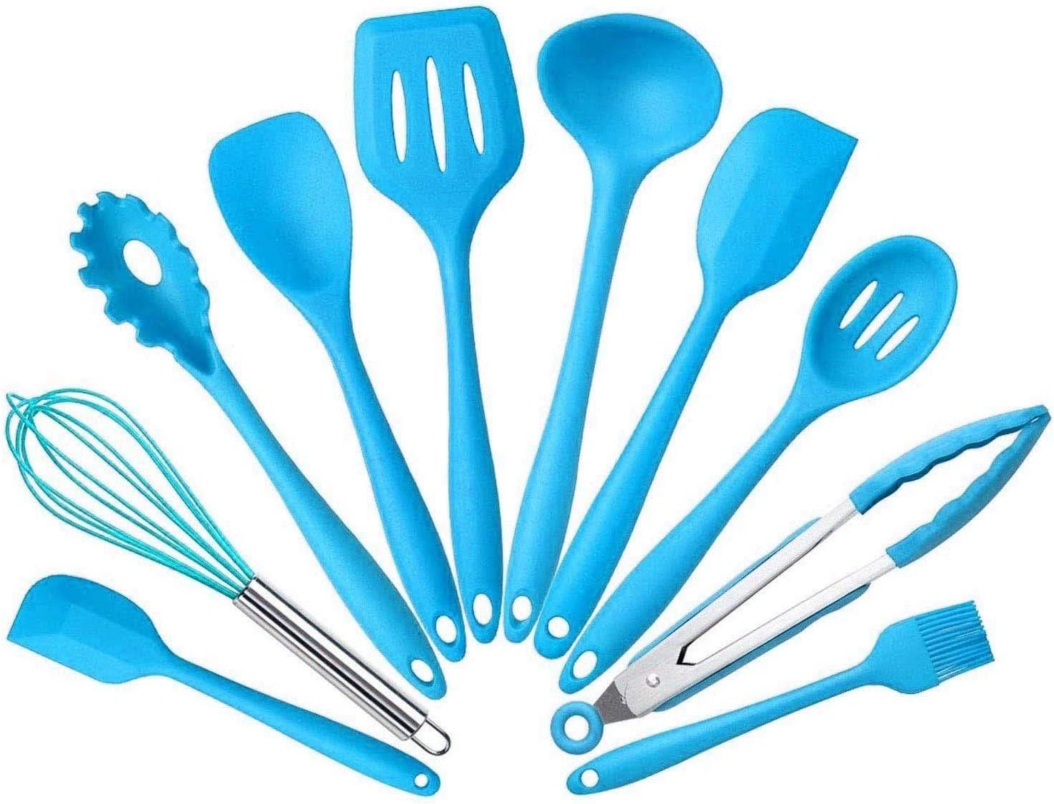 5Pcs/set Silicone Heat Resistant Kitchen Cooking Utensils Non-Stick Baking  Tool tongs ladle gadget by BonBon (Blue)