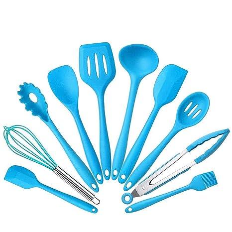 10pcs Set Silicone Heat Resistant Kitchen Cooking Utensils Spatula Non Stick Baking Tool Tongs Ladle Gadget By Bonbon Blue