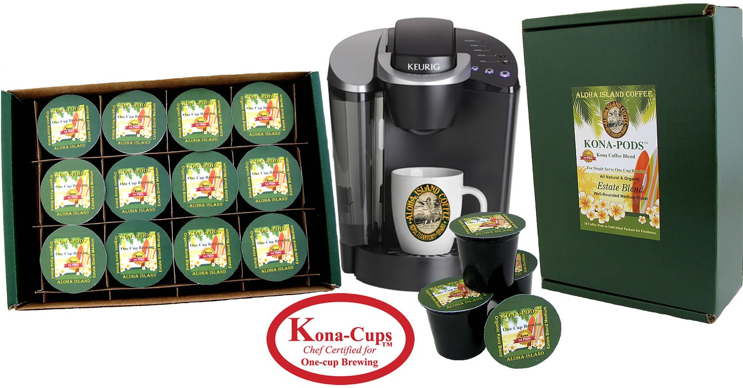 K-cup Coffee of the Month Club, Pure Kona and Kona Hawaiian K-cups Shipped Monthly for Six Months, Gift for Christmas, Mothers Day, Fathers Day, Birthdays, Corporate Gifts and All Occasions by Aloha Island Coffee (Image #2)