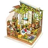 Robotime Dollhouse Manual Assembly DIY STEM Construction Toys with LED Light (Garden Villas)