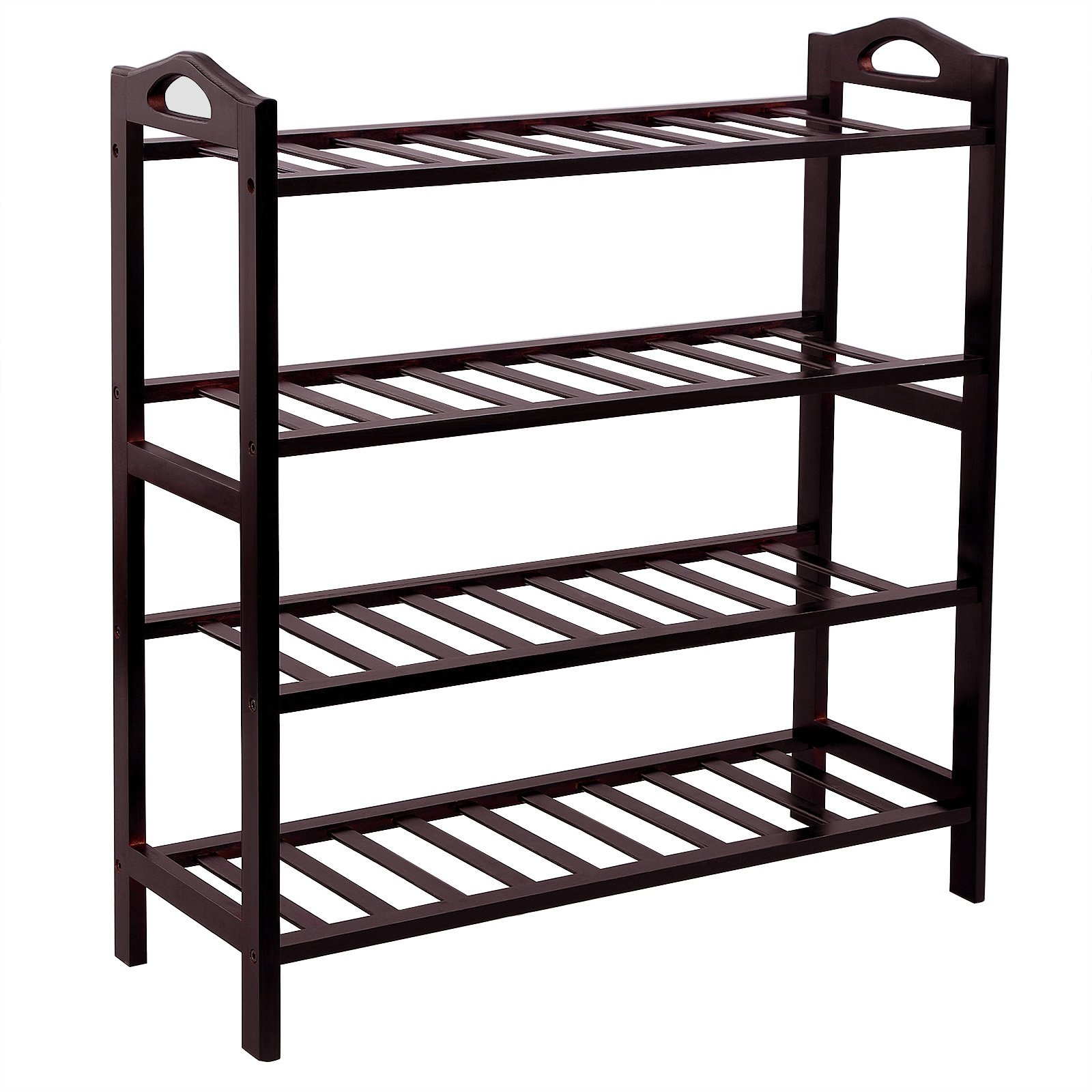 SONGMICS 100% Bamboo 4-Tier Shoe Rack 30 Inch Wide Entryway Shoe Shelf Storage Organizer, 26.6'' L x 10.4'' W x 29.4'' H,Holds Up to 16 Pairs,Ideal for Hallway Bathroom Garden Brown ULBS94Z by SONGMICS (Image #1)