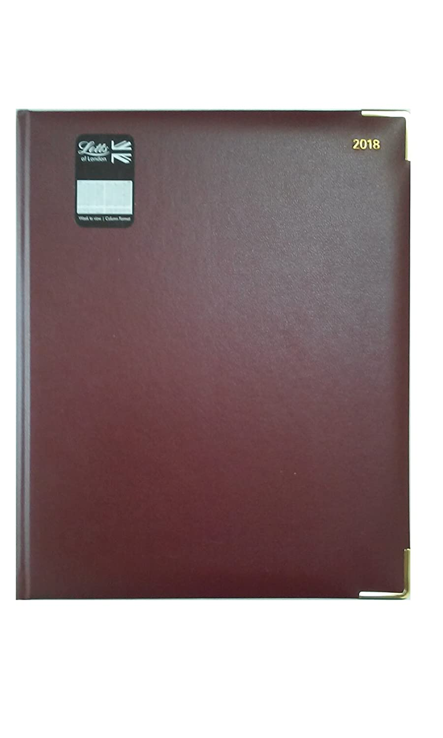 Letts of London 32Y-2018 For 2018 Classic Quarto Week to View Diary Burgundy Cover with Gold Colored Corners