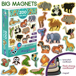 MAGDUM ZOO animal magnets for kids -real LARGE fridge magnets for toddlers- Magnetic EDUcational toys baby 3 year old baby LEARNing magnets for kids- Kid magnets Magnetic THEATRE-jungle animal magnets