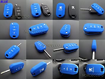 Carcasa de silicona con 3 botones para llave de coche Peugeot de 2013-2017, modelos 208, 406, 508, 2008