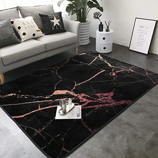 Amazon Com Black Rose Gold Marble Print Area Rug Carpet Contemporary Rugs Living Room Dining Area Rugs Room Rugs Office Rugs Modern Rug 80 X 58 Kitchen Dining