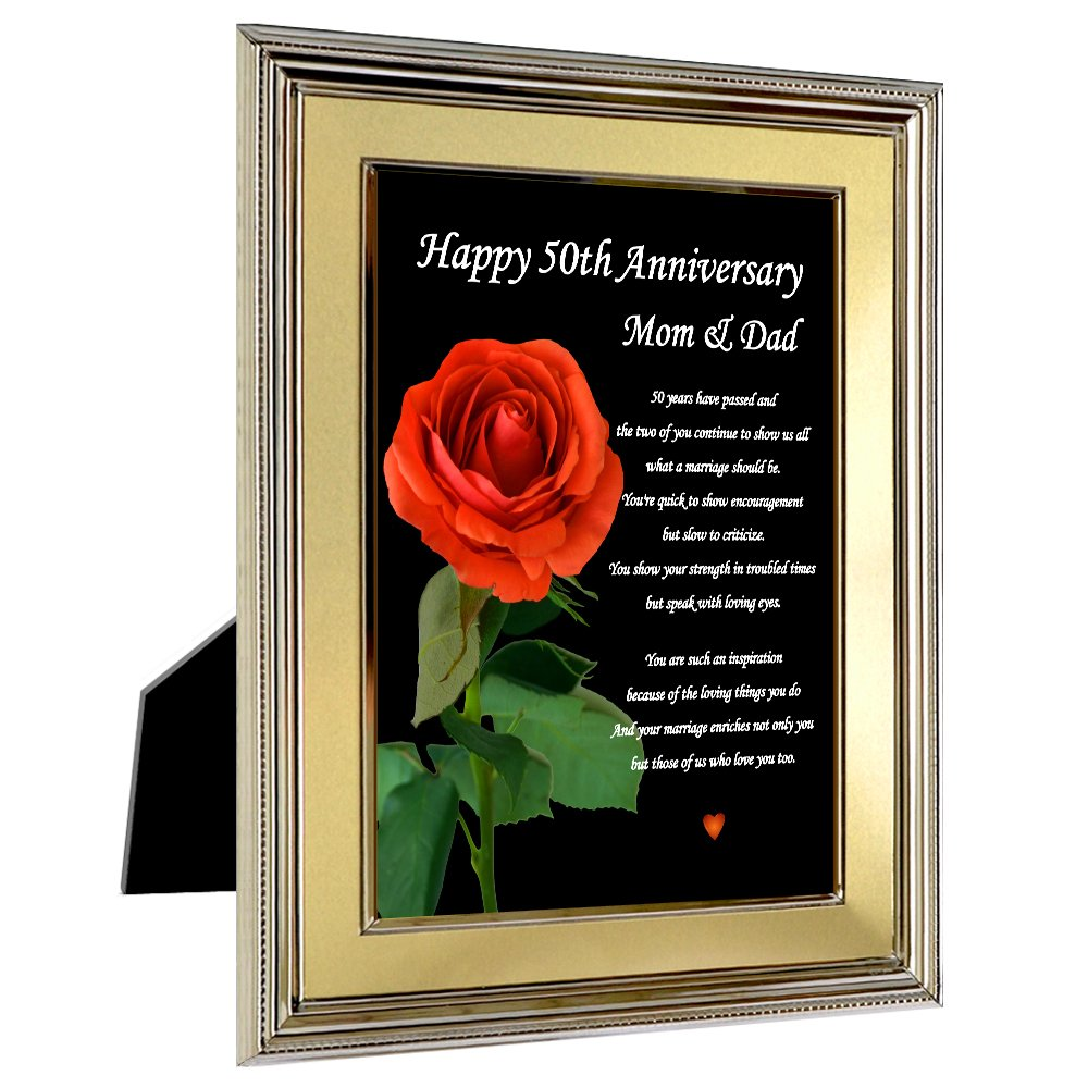 50th Anniversary Frame for Parents - Happy 50th Anniversary Mom and Dad Frame by Poetry Gifts