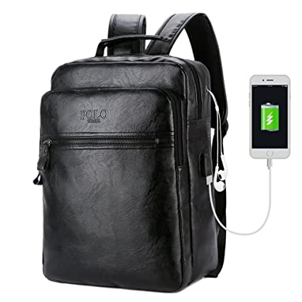 255d63ced278 UKXMNC Men Leather USB Cable Travel Laptop Backpack With Headphone Hole School  Backpack Has Front Pocket