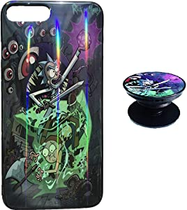Rick and Morty Case for iPhone 6 6s Protective Case Aurora Color Soft TPU Compatible iPhone 6 Cover with Phone Holder Bracket(6/6s)