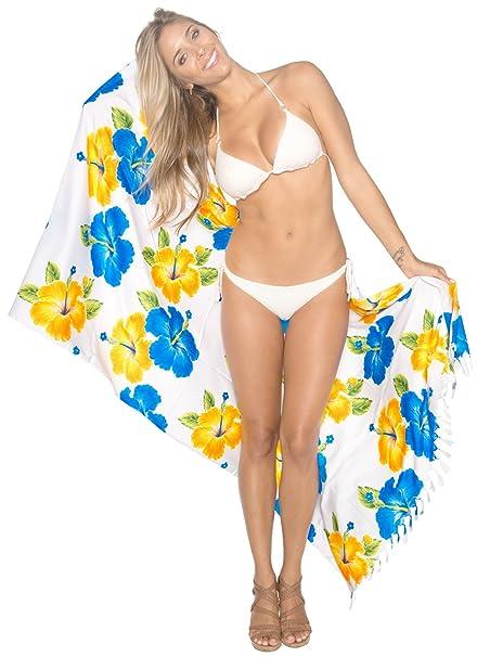 19e7be231261f LA LEELA Soft Light Hawaiian Beach Bikini Wrap Sarong Printed  72 quot X42 quot  White 5402