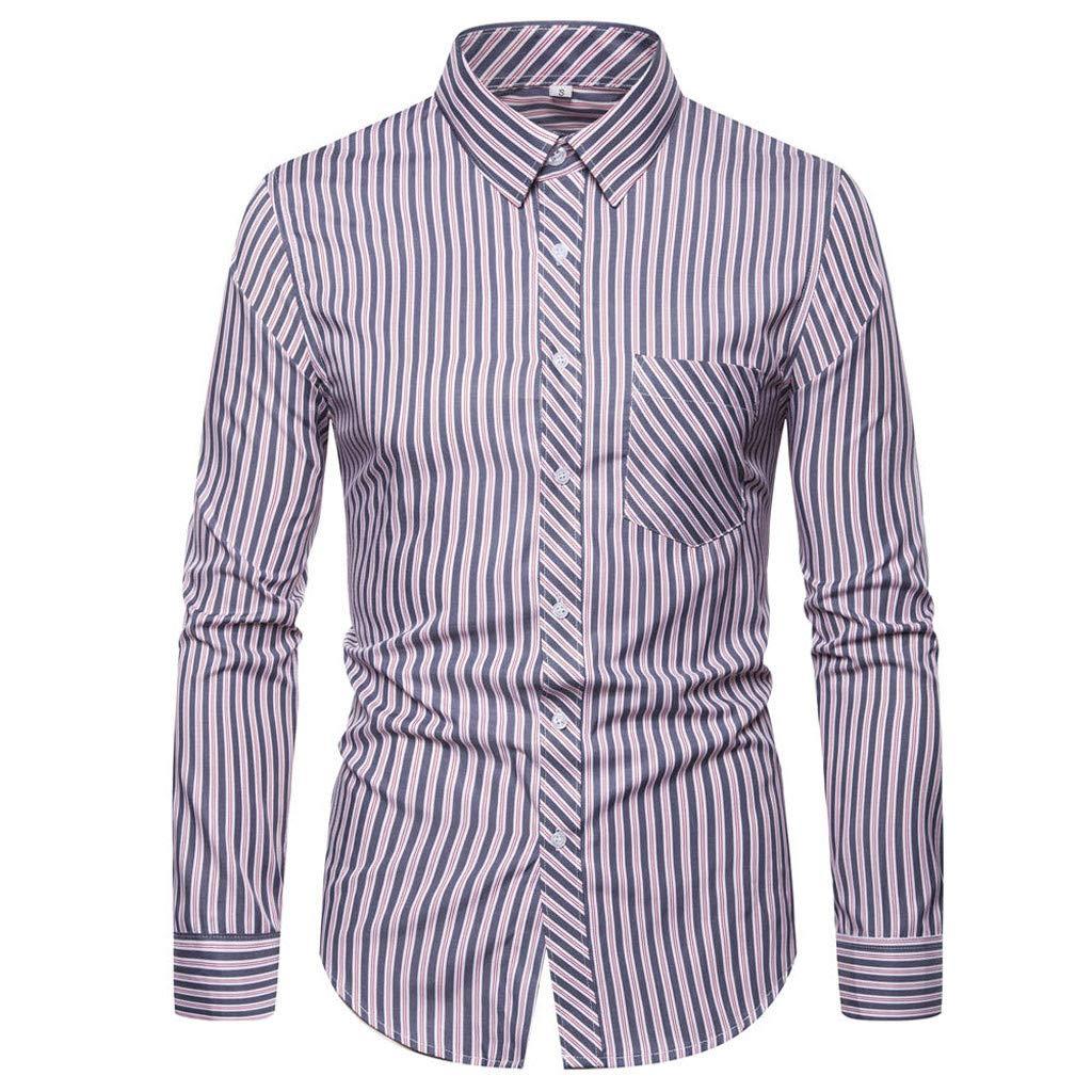 Camisa de manga larga para hombre, corte regular, camiseta de ocio de algodón con patrón de rayas, S, Rote, 1: Amazon.es: Industria, empresas y ciencia