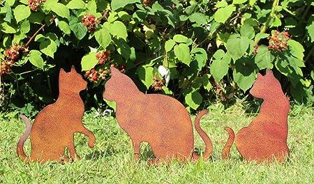 Lb H F 3er Set Gartendeko Gartenstecker Katze Zum Stecken Rost