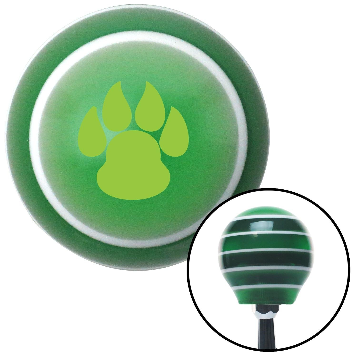 Green Pawprint Sharp American Shifter 121069 Green Stripe Shift Knob with M16 x 1.5 Insert