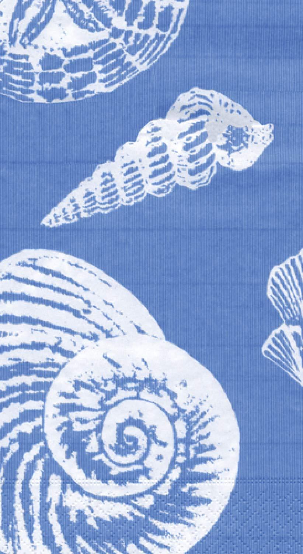 Caspari 3-Ply Paper Shells Ocean, Guest Towel Napkins, Blue Pack of 30