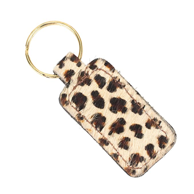Furry Animal Print Keychain Genuine Leather (Cheetah Print ...