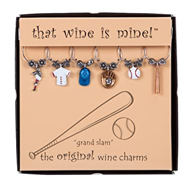 Wine Things WT-1629P Grand Slam, Painted Wine Charms Fits neatly around stem. Multi-Color