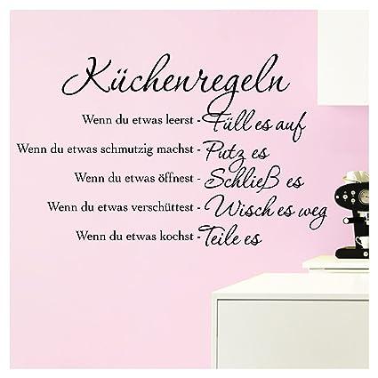 Grandora Wandtattoo Küchenregeln I schwarz (BxH) 58 x 36 cm I Küche Spruch  Zitat Aufkleber selbstklebend ablösbar Wandaufkleber Wandsticker Sticker ...