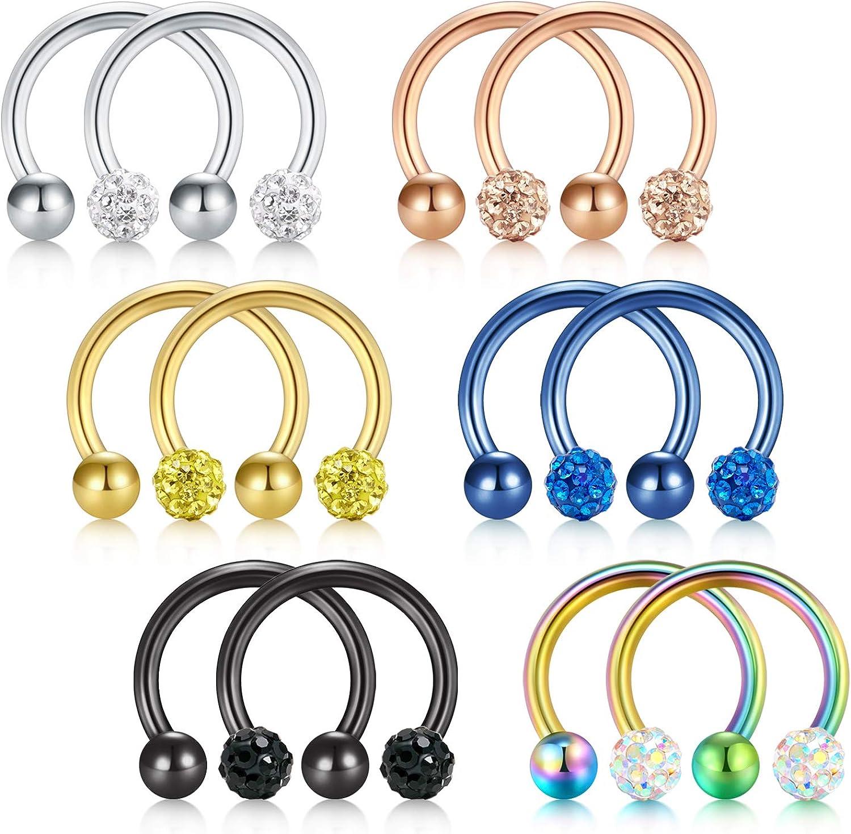 tragus cartilage earring cute septum ring 16g Cubic glass ball horseshoe ring