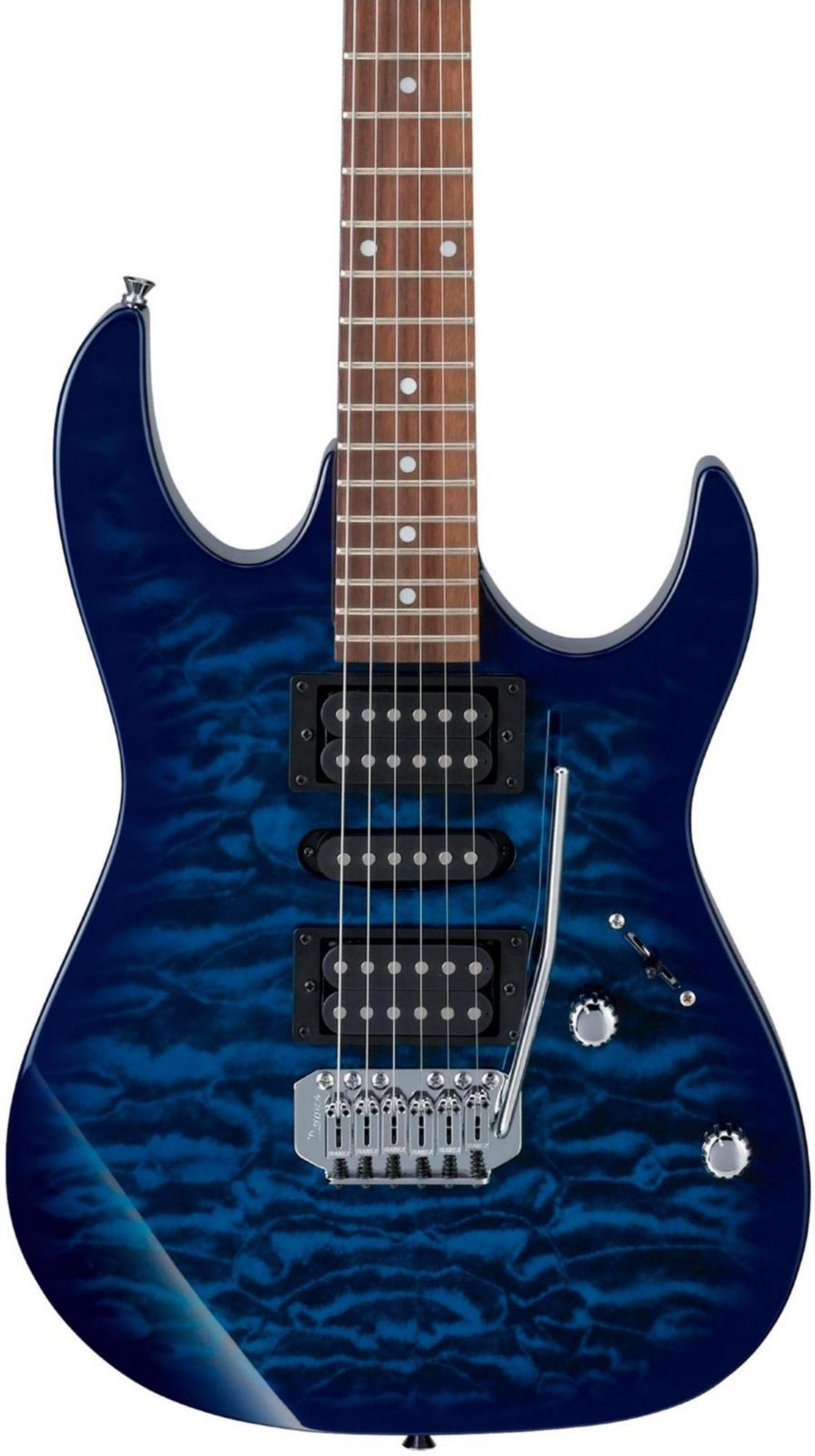 Ibanez 6 String Solid-Body Electric Guitar, Right, Blue (GRX70QATBB) by Ibanez