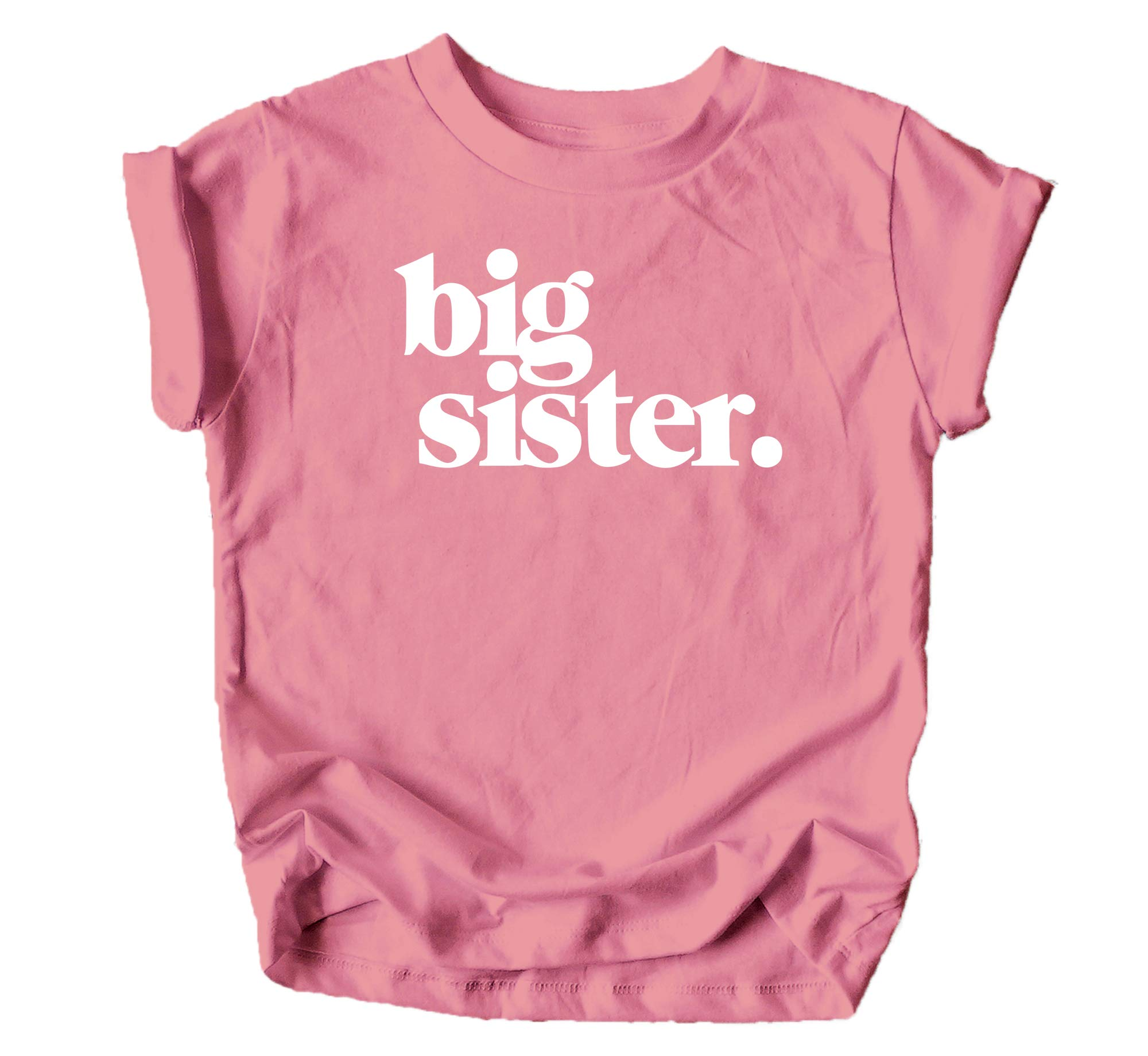 Bold Big Sister Colorful Sibling Reveal Announcement T-Shirt for Baby and Toddler Girls Sibling Outfits Mauve Shirt by Olive Loves Apple