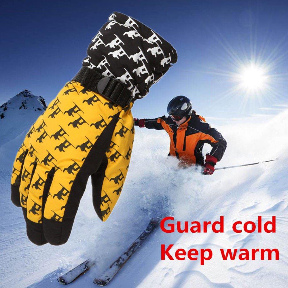 FidgetFidget Gloves for Outdoor Adult Winter Warm Waterproof Windproof Snow Snowboard Ski Sports Yellow
