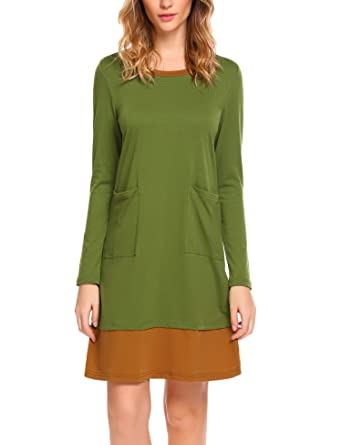 ba0fbd869 HOTOUCH Women's Long Sleeve Solid Casual O Neck T-shirt Dress With Pocket  (Army