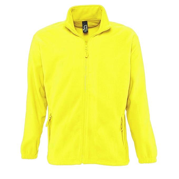 Chaqueta deportiva forro polar de color amarillo neón