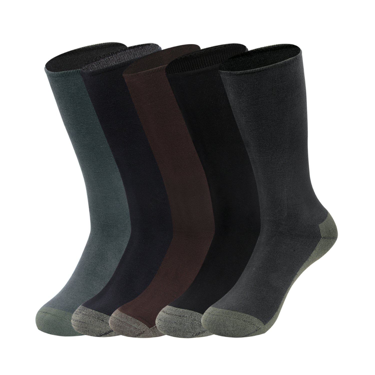 Gather Other 5 Pairs Antibacteria Anti Odor Performance Dress Socks with Copper Fiber for Men,Narrow Ribtop