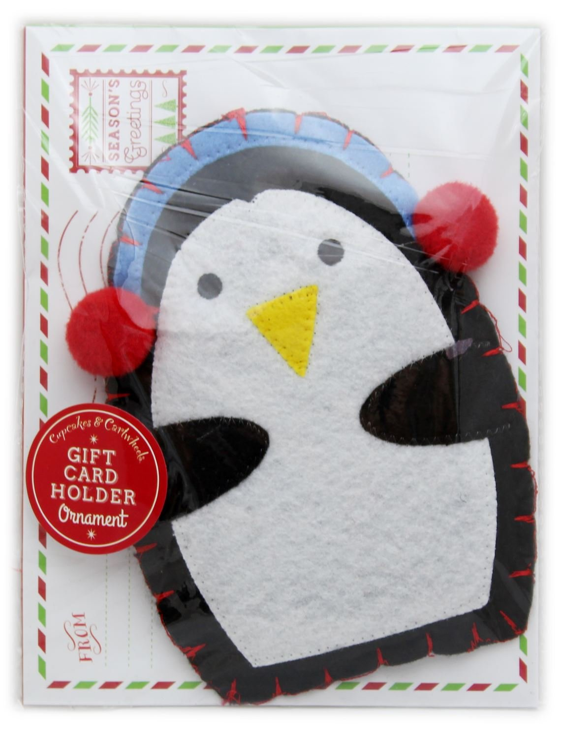 Felt Hanging Christmas Ornament Cheque Money Gift Card Holder With Envelope ~ Penguin Carousel Home