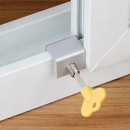 8 piezas / set de cerraduras de seguridad para ventanas correderas ajustables con bloqueo de seguridad para niños, antirrobo, para puertas, ventanas, ...