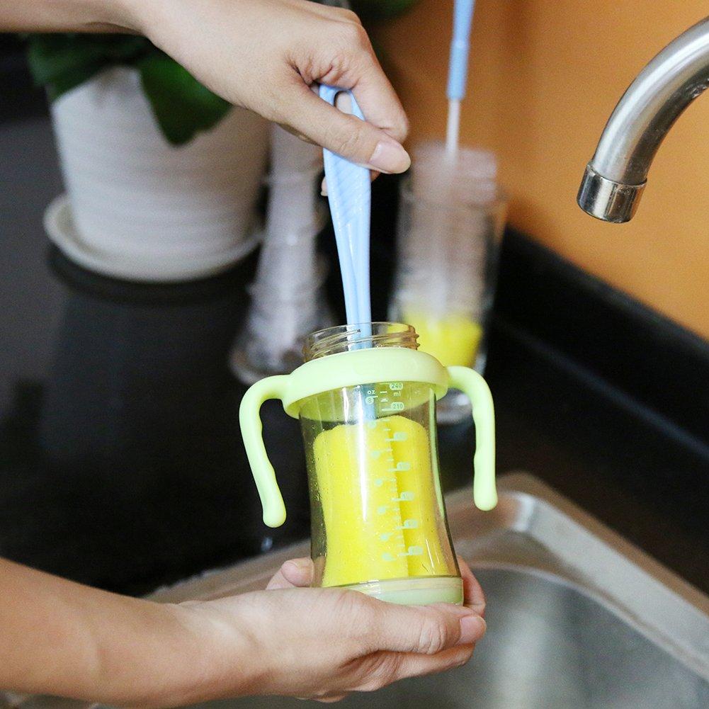 "3 Piece Bottle Brushes Set, SIKIWIND Water Bottle Brush Cleaner Set - Bendable 16"" Rugged Bristles Long Bottle Cleaning Brush + 14"" Sponge Bottle Brush and 10"" Soft Safe Baby Bottle Brush(Blue&Yellow)"