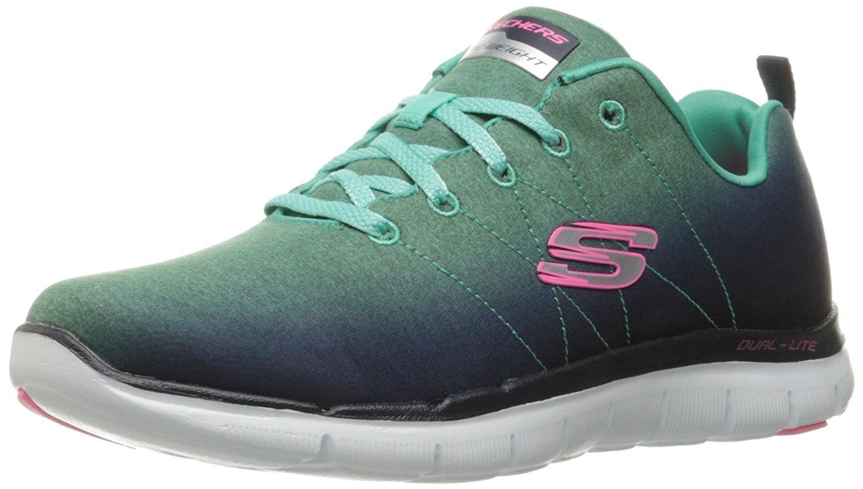 Skechers Sport Women's Flex Appeal 2.0 Fashion Sneaker, Navy/Aqua, 9 M US