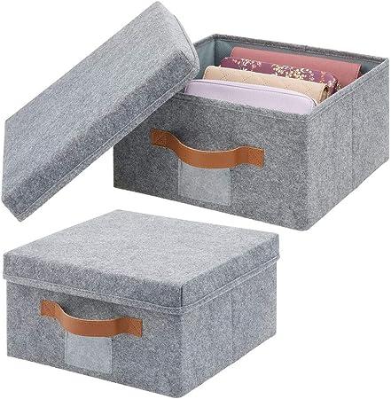 mDesign Juego de 2 cajas de almacenaje para armario o dormitorio – Cesta organizadora plegable de fibra sintética y con tapa – Organizador de armario para guardar ropa y juguetes – gris: Amazon.es: Hogar