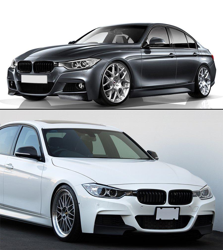 Real Carbon Fiber Performance Style Front Bumper Lip Splitters for 2013-2018 BMW F30 3 SERIES 335I 328D M-Tech Bumper