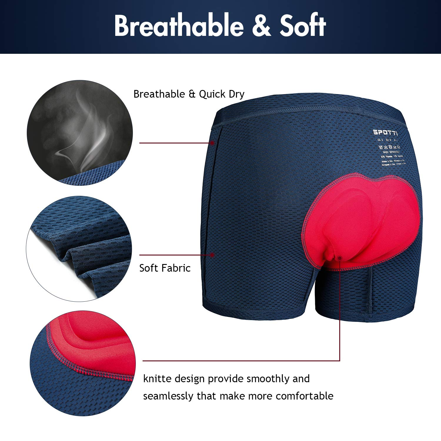 Breathable Lightweight Bike Undershorts Bicycle MTB Underpants with Mesh Womens 3D Padded Cycling Underwear Shorts