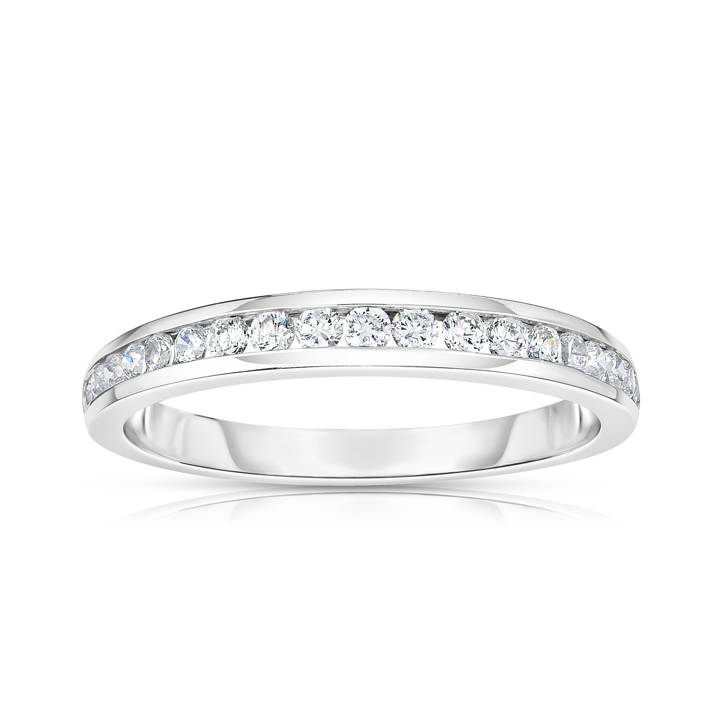 Noray Designs 14K White Gold Diamond (0.30 Ct, SI2-I1 Clarity, G-H Color) Channel Wedding Band