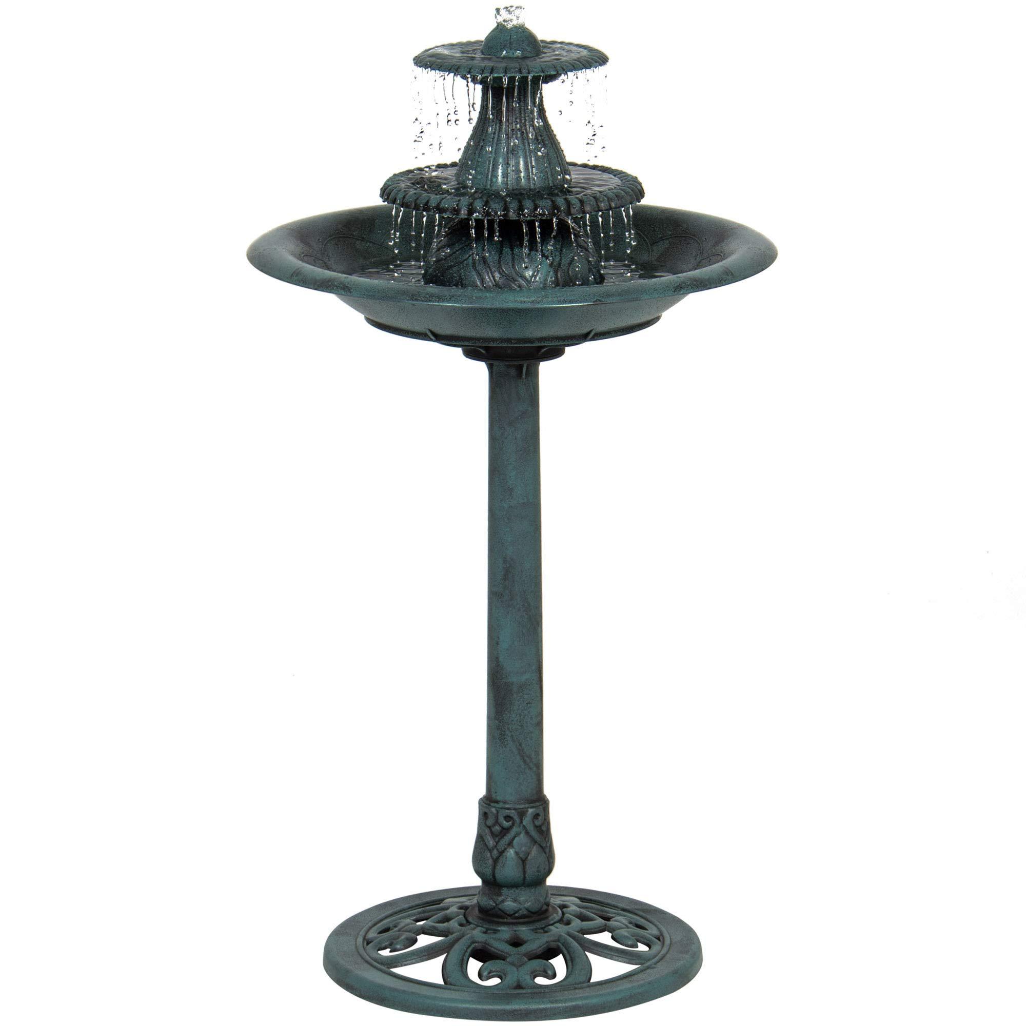 Best Choice Products 3-Tier Indoor/Outdoor Polyresin Pedestal Bird Bath Fountain Decor w/Pump - Green