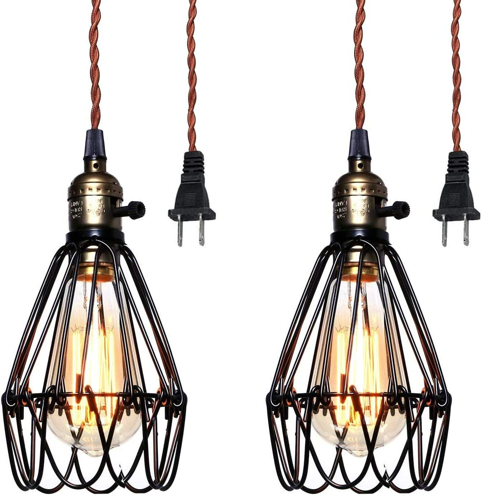 Pauwer Industrial Metal Cage Pedant Light Plug in Pendant Lamp Vintage Edison Hanging Light Fixture with On Off Switch 2 Lights