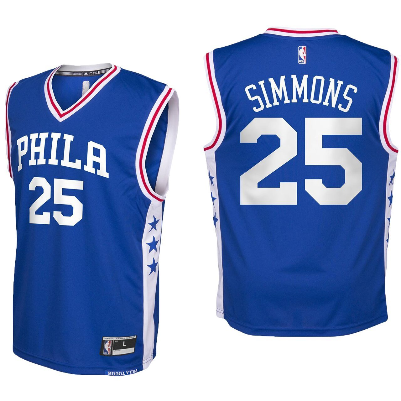 brand new b7589 fe163 Outerstuff Ben Simmons Philadelphia 76ers #25 Blue Youth Road Replica Jersey