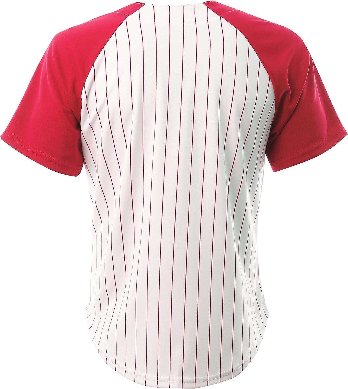 Hat and Beyond Mens Premium Pinstripe Baseball Jersey Raglan Short Sleeve Hip Hop Active Shirt