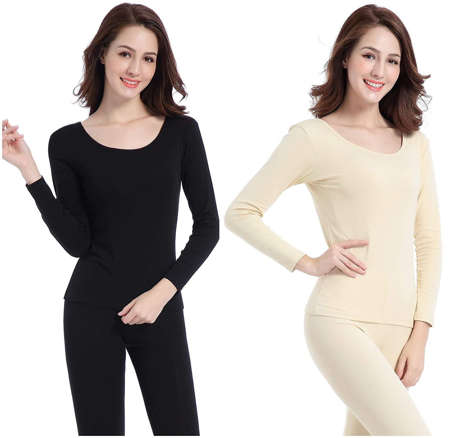 Womens Thermal Underwear Set Crew Neck Breathable Base Layer Thin Long Johns